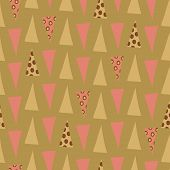 Quirky pink and green triangles with circle overlay in geometric seamless vector pattern on soft green background. Great for fabric, home decor, scrapbooking, giftwrap, stationery poster