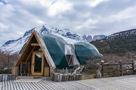 Torres Del Paine, Chile - Sep 25, 2018: Ecocamp In Torres Del Paine National Park In Chile. It Is A