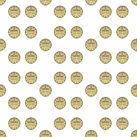 Seamless Pattern With Coins For Fabric And Festival Paper. 3d Rendering.