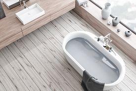 Top View Of Wooden Floor Bathroom, Tub And Sink