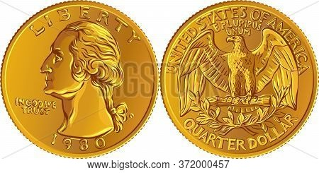 American Money, Washington Quarter Dollar Or 25-cent Gold Coin, First Us President George Washington