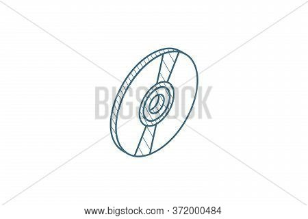Compact Disk, Cd Isometric Icon. 3d Line Art Technical Drawing. Editable Stroke Vector