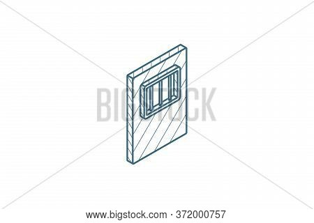 Jail Gate Door Isometric Icon. 3d Line Art Technical Drawing. Editable Stroke Vector