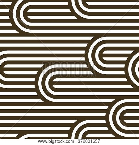 Seamless Pattern With Twisted Lines, Vector Linear Tiling Background, Stripy Weaving, Optical Maze,