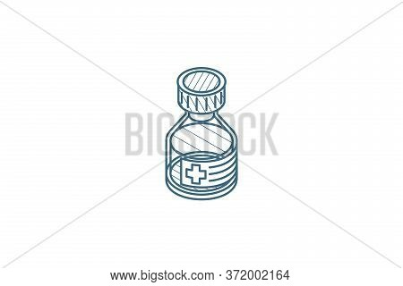 Mixture. Medical Isometric Icon. 3d Line Art Technical Drawing. Editable Stroke Vector