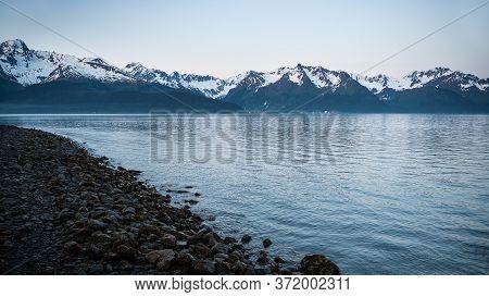 A Scenic Dusk View Of Ressurection Bay In Seward Alaska.