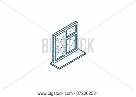 Window Whith Sill Isometric Icon. 3d Line Art Technical Drawing. Editable Stroke Vector