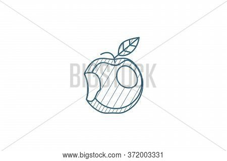 Apple With A Bite Isometric Icon. 3d Line Art Technical Drawing. Editable Stroke Vector