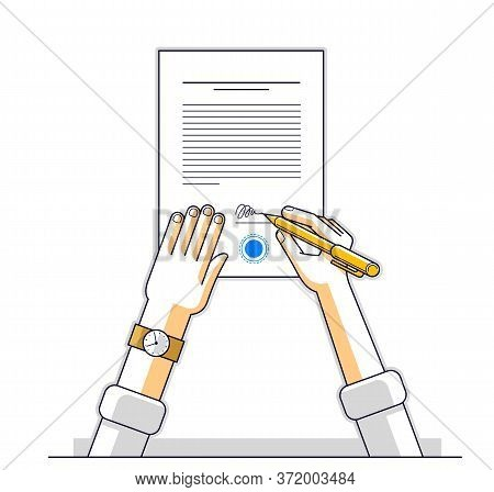 Businessman Signs Contract Official Paper Document With Seal, Boss Signs A Order Or Directive, Appro