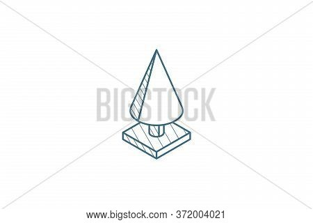 Spruce Tree Isometric Icon. 3d Line Art Technical Drawing. Editable Stroke Vector