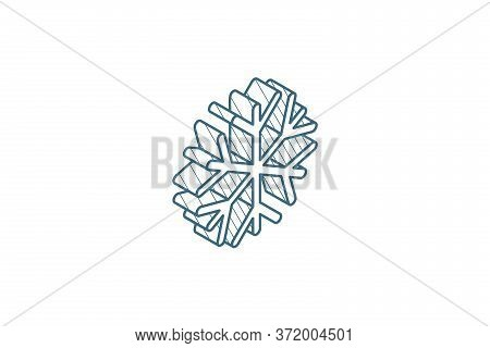 Snowflake, Frost, Winter Snow Isometric Icon. 3d Line Art Technical Drawing. Editable Stroke Vector