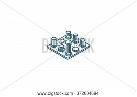 Architecture History, Ruins Isometric Icon. 3d Line Art Technical Drawing. Editable Stroke Vector