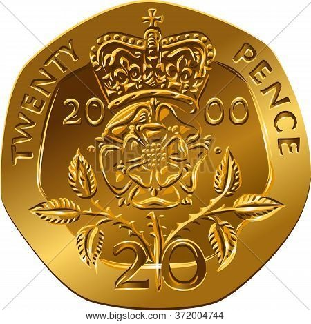 British Money Gold Coin Reverse Twenty Pences With The Image Of Crowned Rose Flower, Rosa Tudor - Th
