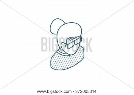Granny Avatar, Old Woman Isometric Icon. 3d Line Art Technical Drawing. Editable Stroke Vector