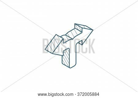 Junction, Separation, Two Paths, Ways Isometric Icon. 3d Line Art Technical Drawing. Editable Stroke