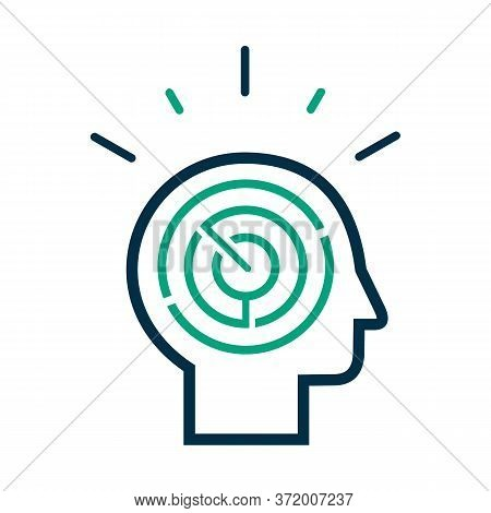 Logic Games Concept, Creative Thinking, Head Maze Line Icon, Mind Labyrinth, Mental Work, Strategic