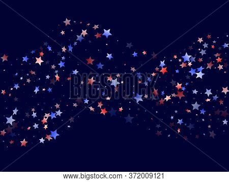 American Patriot Day Stars Background. Confetti In Us Flag Colors For Independence Day.  Banner Red