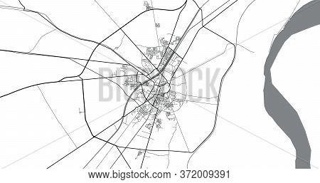 Urban Vector City Map Of Larkana, Pakistan, Asia.