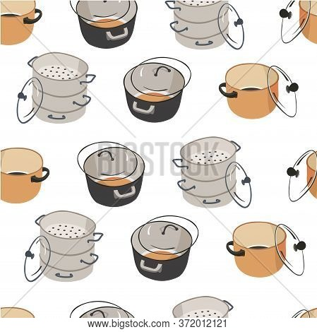 Saucepan For Cooking And Preparing Food Seamless Pattern