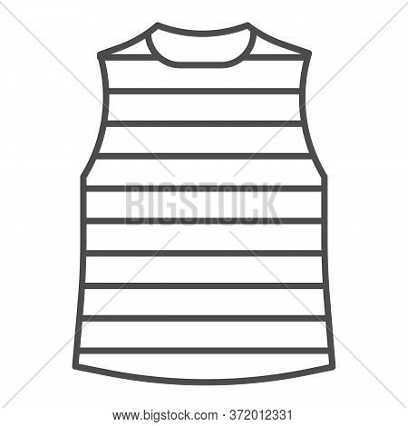 Stripped Vest Thin Line Icon, Summer Clothes Concept, Stripped T-shirt Sign On White Background, Sai