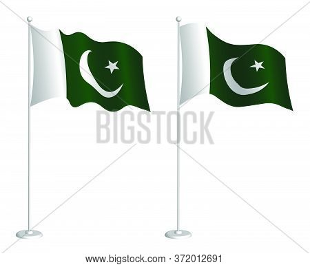 Flag Of Islamic Republic Of Pakistan On Flagpole Waving In The Wind. Holiday Design Element. Checkpo