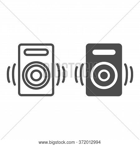 Speaker Line And Solid Icon, Media Concept, Audio Speaker Sign On White Background, Sound From Speak