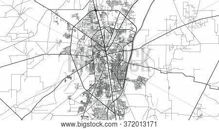Urban Vector City Map Of Gurjranwala, Pakistan, Asia.