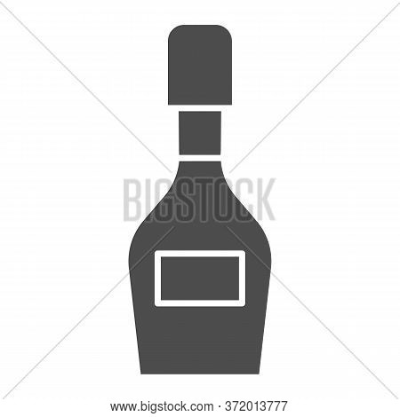 Champagne Bottle Solid Icon, Alcohol Drinks Concept, Champagne Sign On White Background, Wine Bottle