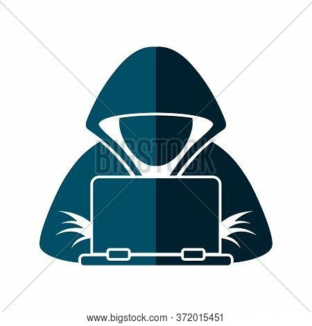 Hacker Laptop Icon. Simple Illustration Of Hacker Laptop Vector Icon For Web Design Isolated On Whit