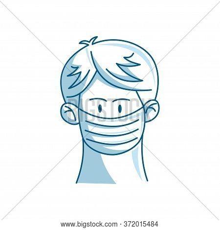 Man In Protective Medical Face Mask Illustration