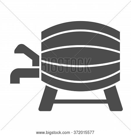 Beer Barrel With Faucet Solid Icon, Alcohol Drinks Concept, Wooden Wine Cask On Racks With Tap Sign