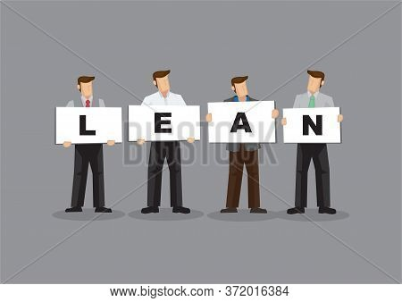 Illustration Of Business Man And Woman Holding White Board Cards Title Lean. Full Length On Grey Bac