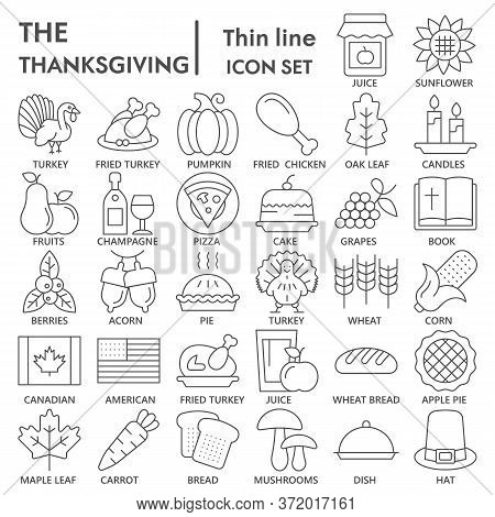 Thanksgiving Day Thin Line Icon Set, National Holiday Celebration Symbols Collection Or Sketches. Ha