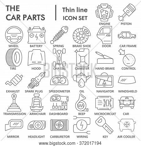 Car Parts Thin Line Icon Set, Vehicle Part Symbols Collection Or Sketches. Car Service Maintenance L