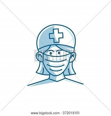 Nurse Character Wearing Mask Vector Illustration Cartoon