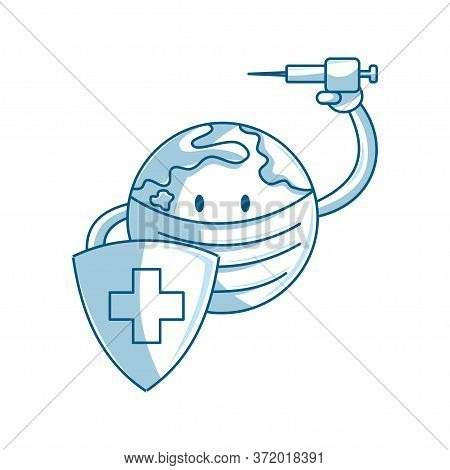 World Or Earth In Protective Mask Holding Shield And Vaccine Syringe  Fight Against Corona Virus, Co