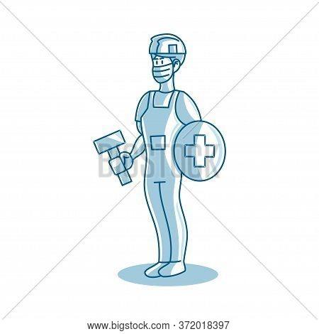 Worker Man Construction Wearing Medical Mask Vector