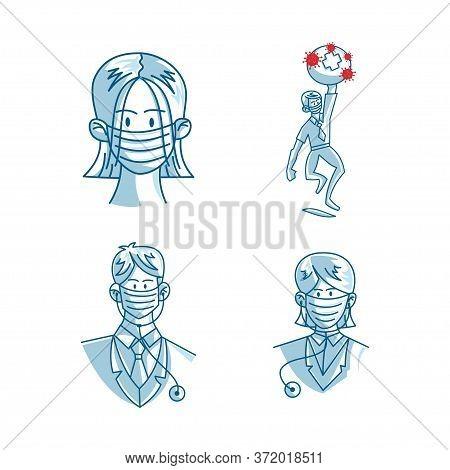 Mask Protection Health Care Vector Set Cartoon