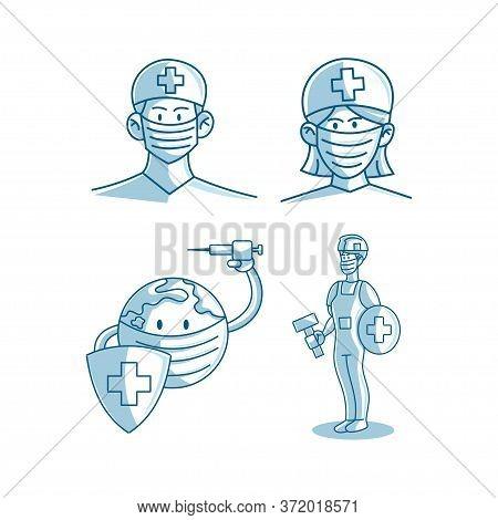 Mask Protection Health Care Illustration Vectorbacteria; Corona; Fight; Pandemic; Virus; Cartoon; Ep