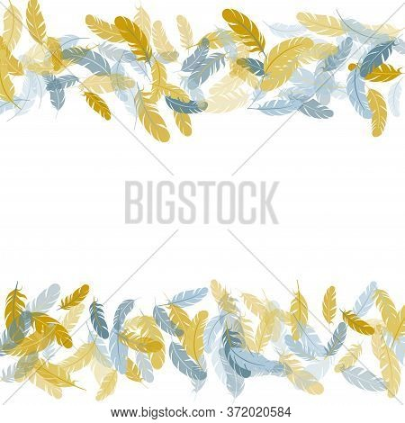Gentle Silver Gold Feathers Vector Background. Plumage Fluff Dreams Symbols. Flying Feather Elements