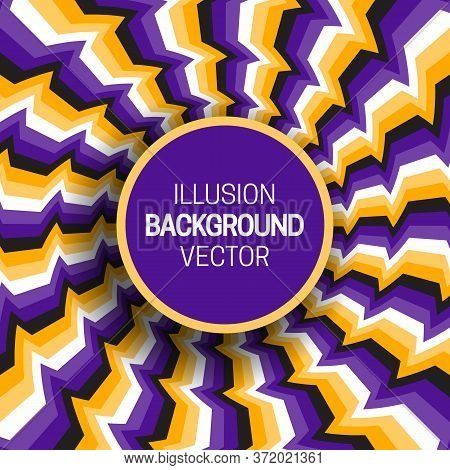 Round Frame On Purple Yellow Optical Illusion Hypnotic Background Of Rotating Broken Stripes.