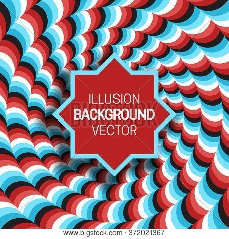 Octagram Frame On Blue Red Optical Illusion Hypnotic Wavy Striped Background.