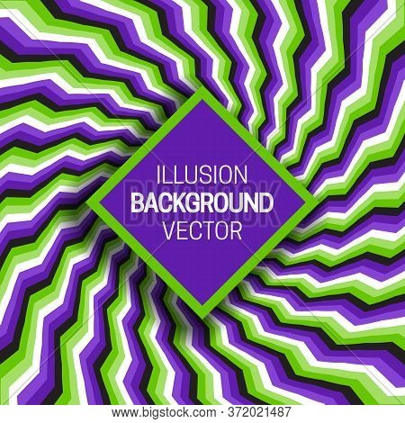 Square Frame On Green Purple Optical Illusion Hypnotic Background Of Rotating Broken Stripes.