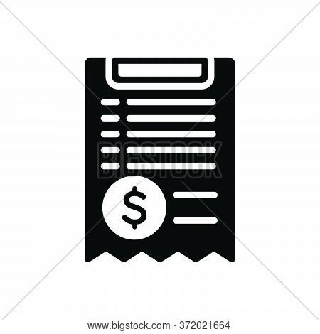 Black Solid Icon For Bill  Paper Receipt Document Paperwork Invoice