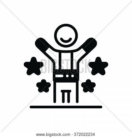 Black Solid Icon For Happy Fain Blissful Gladsome Hilarious Jubilant