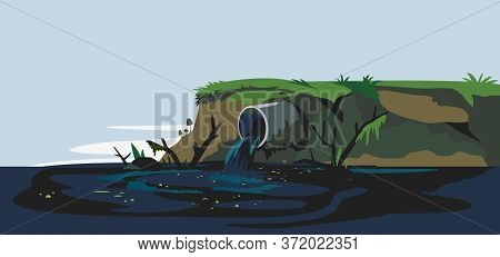 Industrial Pipe On River Bank Discharge Wastewater Ecology Landscape Background, Ecological Disaster