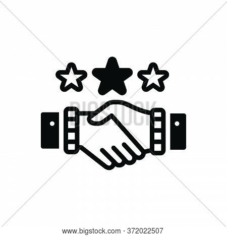 Black Solid Icon For Partnership Copartnership  Teamwork Handshake Complicity