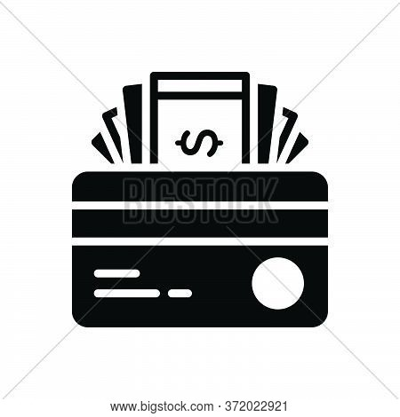 Black Solid Icon For Credit Card Cash Finance Transaction Debit