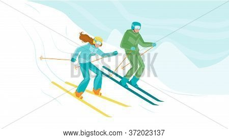 Man And Woman Skiing Downhill From Hill Vector