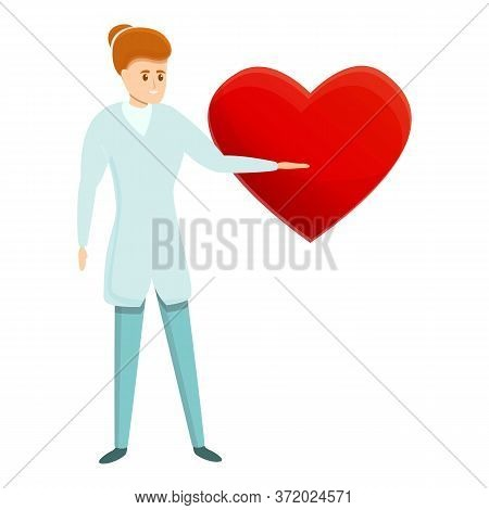 Cardiologist Show Heart Construction Icon. Cartoon Of Cardiologist Show Heart Construction Vector Ic